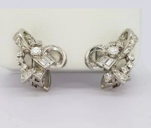 Vintage 1960's Diamond Set Bow Earrings in 18ct White Gold