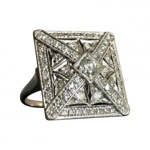 Art Deco 1.50ct Diamond and 18ct White Gold Square Plaque Ring