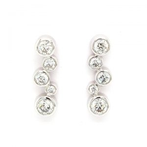 Pair of 0.84ct Diamond Fancy Drop Earrings in 18ct White Gold