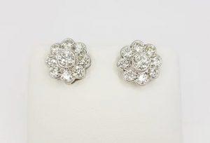 2.55ct Diamond Daisy Flower Cluster Stud Earrings