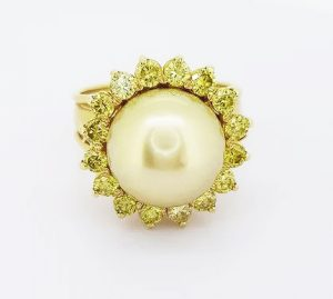 Golden South Sea Pearl and 2ct Fancy Yellow Diamond Cluster Ring