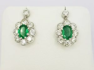1.40ct Emerald and Diamond Cluster Drop Earrings in 18ct White Gold