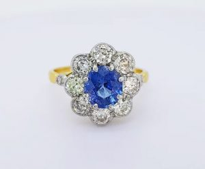 Vintage 1.70ct Natural Sapphire and Diamond Oval Floral Cluster Ring