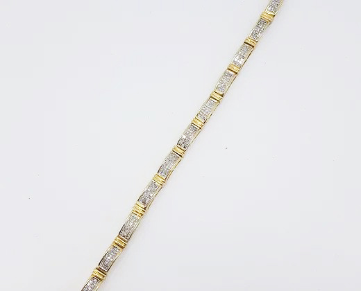 Diamond and 18ct Yellow Gold Panel Line Bracelet, 6 carat total