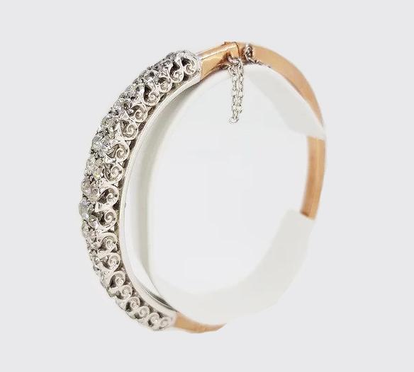 Antique Old Cut Diamond Bangle / Mini Tiara, 11.00 carat total, 18ct white gold