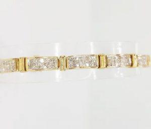 6.00ct Diamond and 18ct Yellow Gold Panel Line Bracelet