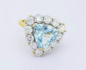2.00ct Aquamarine and Diamond Triangular Cluster Ring