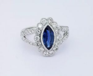 Sapphire and Diamond Marquise Cluster Ring, 1.50 carats, 18ct Gold