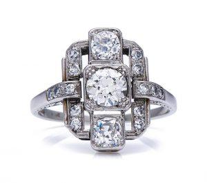Art Deco 1.20ct Diamond Cluster Plaque Ring in 14ct White Gold, c.1920