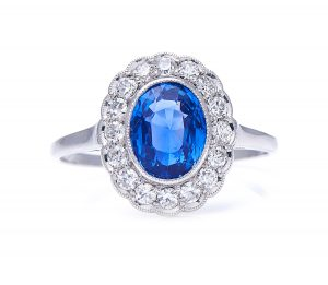 Antique Natural 'Cornflower' Ceylon Sapphire and Diamond Cluster Ring