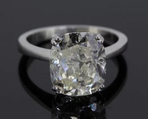 Cushion Cut 5.11 carat Diamond Solitaire Engagement Ring