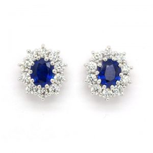Pair of 1.47ct Sapphire and 0.88ct Diamond Oval Cluster Earrings