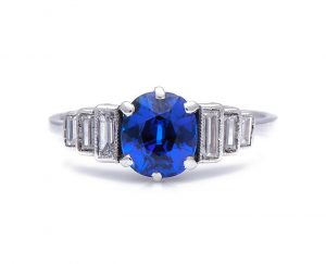 Art Deco 1.35ct Oval Sapphire and Diamond Engagement Ring in Platinum