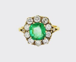 Antique 2.05ct Cushion Cut Emerald and Old Cut Diamond Cluster Ring