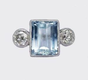 3.04ct Aquamarine and Diamond Three Stone Ring