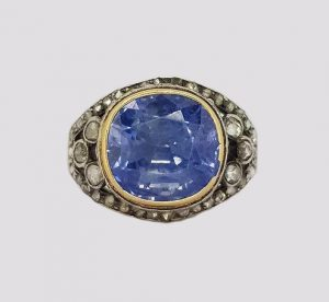 Antique Victorian Natural Sapphire and Rose Cut Diamond Ring