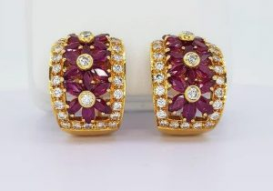 Ruby and Diamond Floral Earrings in 18ct Yellow Gold