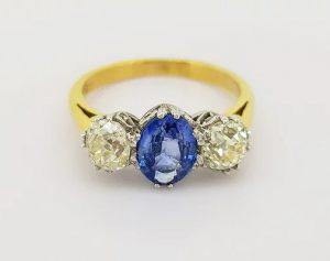 1.20ct Sapphire and 1.35ct Diamond Three Stone Ring, 18ct Gold