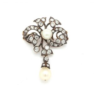 Antique Victorian Diamond and Pearl Foliate Design Brooch Pendant