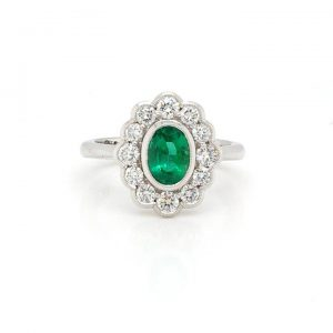 Oval Cut 0.99ct Zambian Emerald and Diamond Cluster Ring, Certified