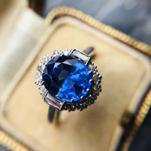 Vintage 3.10ct Burmese Sapphire and Diamond Cluster Ring