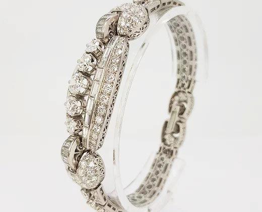 Vintage Diamond and Platinum Panel Bracelet, 16.50 carat total