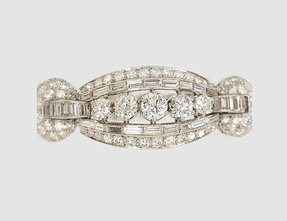 Vintage Diamond and Platinum Panel Bracelet, 16.50 carats