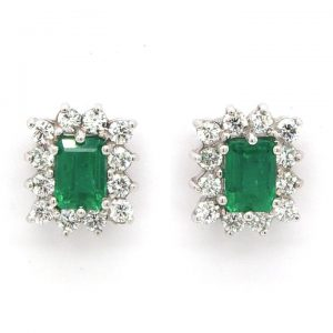 Pair of 1.28ct Emerald and 0.68ct Diamond Cluster Earrings, 18ct Gold