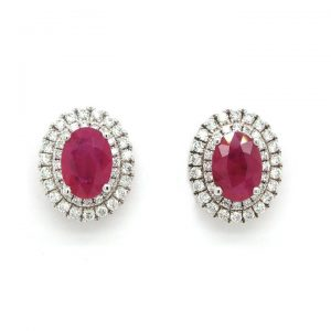 Pair of 2.13ct Ruby and 0.48ct Diamond Oval Cluster Earrings