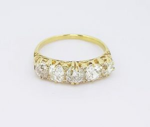 Antique Victorian 2.50ct Old Cut Diamond Five Stone Ring, 18ct Gold