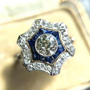 Vintage 0.70ct Diamond and Sapphire Floral Star Cluster Ring