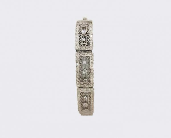 Art Deco Diamond and Platinum Filigree Panel Bracelet