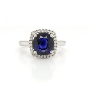 Cushion Cut 3.53ct Sapphire and Diamond Cluster Ring in Platinum