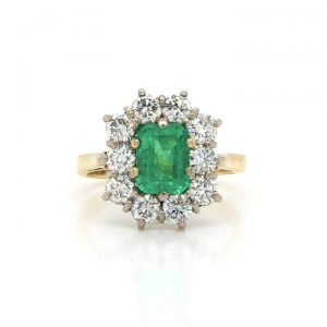 Emerald Cut 1.20ct Emerald and Diamond Cluster Ring, 18ct Gold