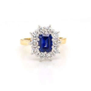 Emerald Cut 1.18ct Sapphire and Diamond Cluster Ring in 18ct Gold