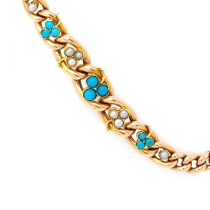 Antique 9ct Gold, Pearl and Turquoise Clover Leaf Bracelet