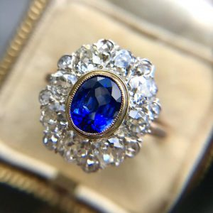 Antique Belle Epoque 1.80ct Sapphire and 2.10ct Diamond Cluster Ring