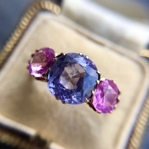 Antique Colour Change Lilac Sapphire and Pink Sapphire Trilogy Ring