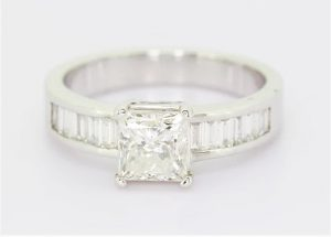 1.70ct Princess Cut Diamond Engagement Ring, 18ct White Gold