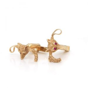 Pair of Vintage 9ct Yellow Gold Fox Head and Riding Crop Cufflinks