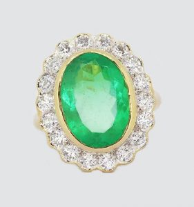 5.14ct Emerald and Diamond Oval Cluster Ring in 18ct Gold