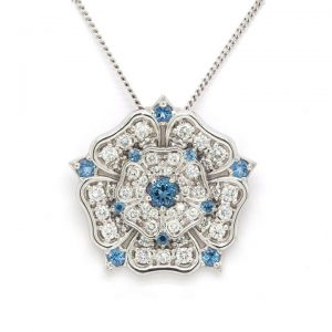 2.73ct Diamond, Aquamarine and 18ct White Gold Yorkshire Rose Pendant