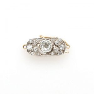Antique Edwardian Diamond Brooch in Platinum and 15ct Gold