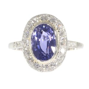 Vintage Fifties Diamond and Sapphire Platinum Engagement Ring