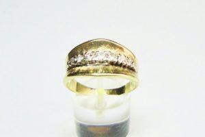 Matte Gold Brilliant Cut Diamond Set Ring