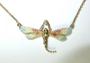 Diamond Set Enamel Dragonfly Pendant