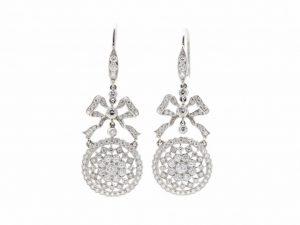 Diamond Bow Drop Earrings