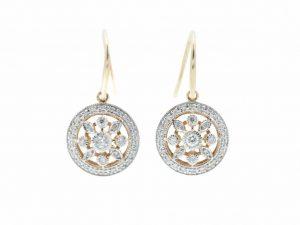 Art Deco Style Brilliant Cut Diamond Earrings