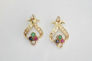 Art Nouveau Style Ruby, Sapphire, Emerald and Diamond Yellow Gold Earrings