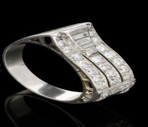 Antique Art Deco Diamond Platinum Cocktail Ring